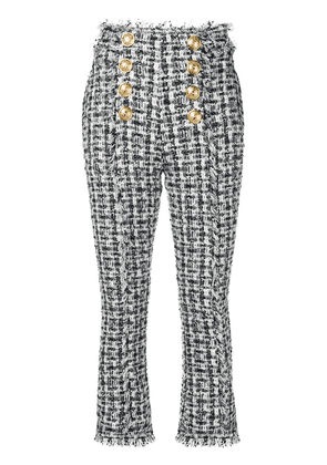 Balmain high-waisted tweed trousers - Blue