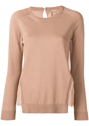 No21 sheer panel sweater - Neutrals