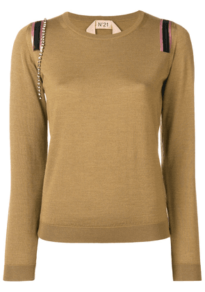 No21 crystal-embellished sweater - Brown
