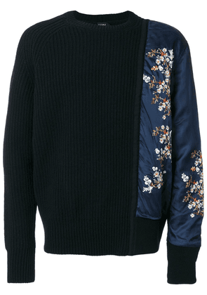 No21 asymmetric floral sleeve sweater - Black
