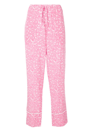 Marni floral drawstring flared trousers - Pink