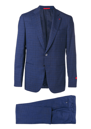 Isaia checked formal suit set - Blue