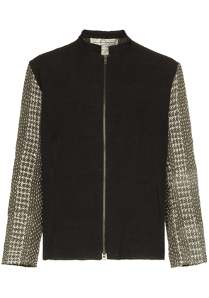 By Walid embroidered contrast sleeve jacket - Black