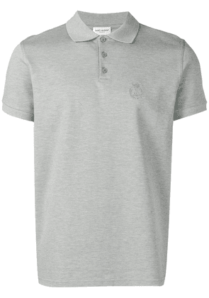 Saint Laurent embroidered logo polo shirt - Grey