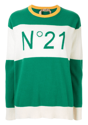 No21 contrast panels logo jumper - Green