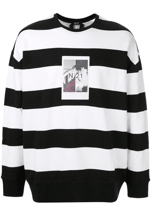 No21 photo print striped sweatshirt - Black