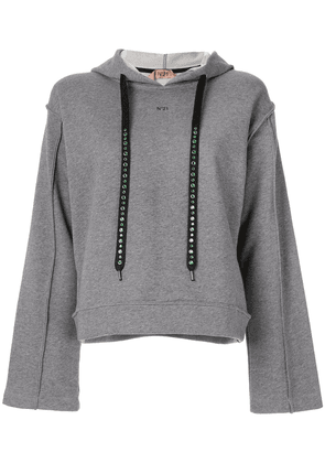 No21 embellished drawstring hoodie - Grey