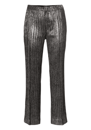 Isabel Marant Denlo metallic plissé cropped trousers - Black