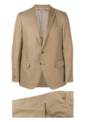Caruso slim single breasted suit - Brown