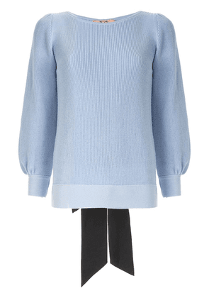 No21 knit sweater with bow ribbon - Blue