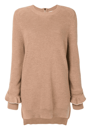 No21 frill sleeve jumper - Brown