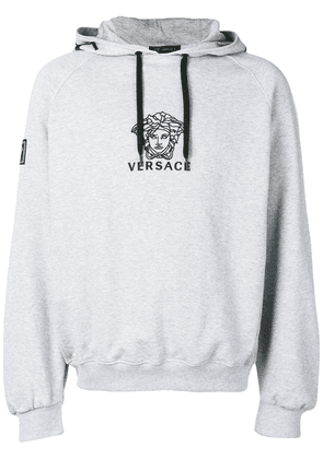 Versace Embroidered Medusa Logo Hoodie Grey