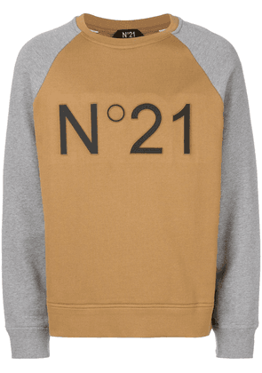 No21 branded raglan sweatshirt - Brown