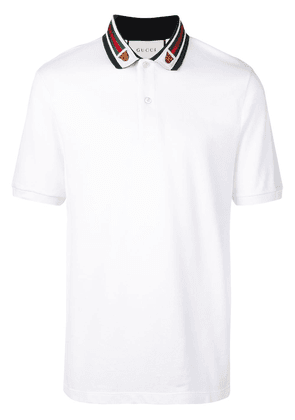 Gucci Cotton polo with Web and feline head - White