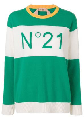 No21 logo colour-block sweater - Green