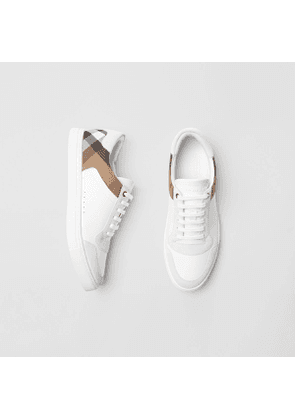 Burberry Leather and House Check Sneakers, White