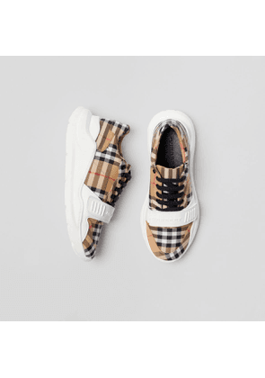 Burberry Vintage Check Cotton Sneakers, Yellow