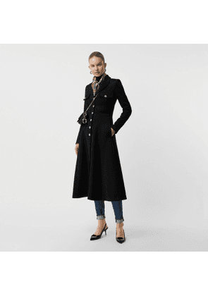 Burberry Bonded Cotton Blend Jersey Tailored Coat, Black