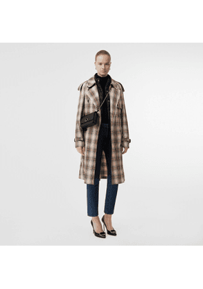 Burberry Lightweight Check Trench Coat, White