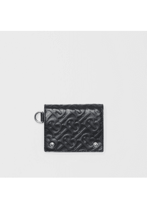 Burberry Monogram Embossed Leather Trifold Wallet, Black