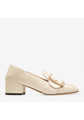 Bally Janelle White, Women's calf leather pump with 40mm heel in bone
