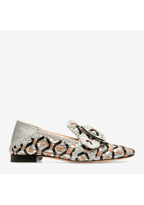 Bally Janelle Multicolor, Women's woven nappa leather slipper in silver, black and pink