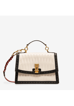 Bally Lyla White, Women's quilted calf leather small top handle bag in bone