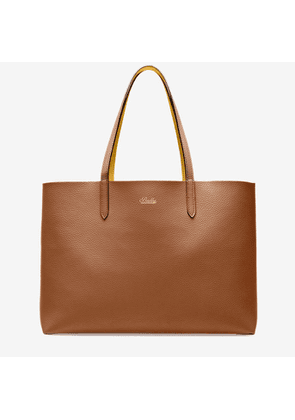 Bally Rory Orange, Women's reversible bovine leather tote bag in tan and gold sand