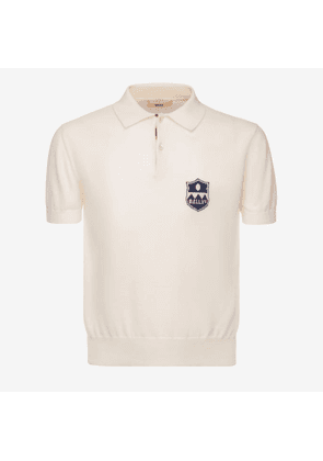 Bally Knitted Crest Polo Shirt White, Men's cotton and cashmere blend knit polo shirt in bone