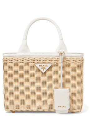 Prada - Giardiniera Canvas And Leather-trimmed Wicker Tote - White