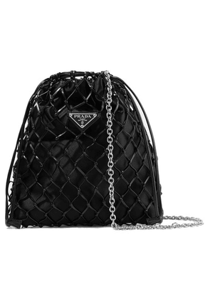 Prada - Macramé Leather And Satin Bucket Bag - Black