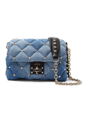 Valentino - Valentino Garavani Candystud Medium Leather-trimmed Quilted Denim Shoulder Bag - Blue