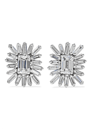 Suzanne Kalan - 18-karat White Gold Diamond Earrings - one size