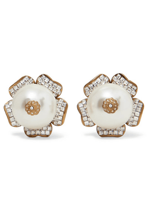 Dolce & Gabbana - Gold-tone, Crystal And Faux Pearl Clip Earrings - one size