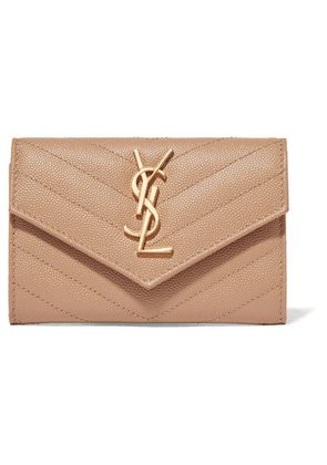 Saint Laurent - Quilted Textured-leather Wallet - Beige
