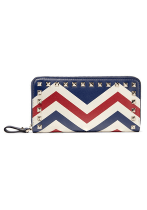 Valentino - Valentino Garavani The Rockstud Printed Leather Continental Wallet - Blue