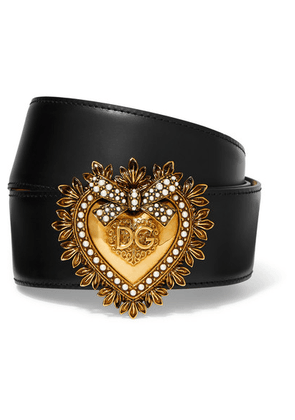 Dolce & Gabbana - Embellished Leather Waist Belt - Black