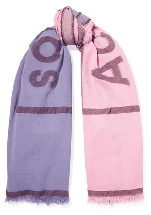 Acne Studios - Vinnie Two-tone Embroidered Cotton-blend Scarf - Pastel pink