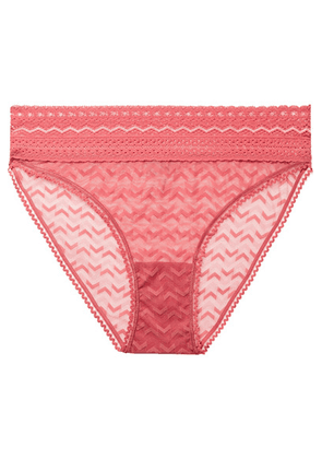 ELSE - Boomerang Stretch-lace Briefs - Coral