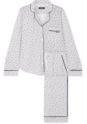 DKNY - Signature Printed Cotton-blend Jersey Pajama Set - Blue