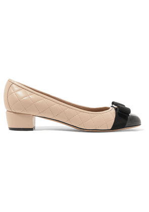 Salvatore Ferragamo - Vara Bow-embellished Patent And Quilted-leather Pumps - Blush