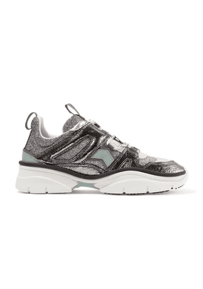 Isabel Marant - Kindsay Logo-print Metallic, Glittered And Smooth Leather Sneakers - Silver