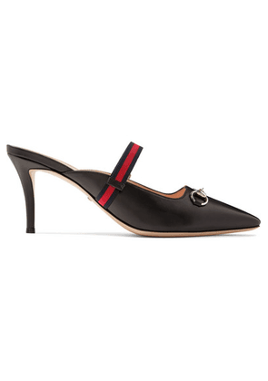 cae5281caae Gucci - Emma Horsebit-detailed Grosgrain-trimmed Leather Mules - Black