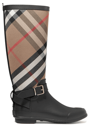 Burberry - Checked Cotton-canvas And Rubber Rain Boots - Black