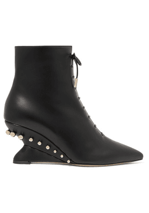 Salvatore Ferragamo - Blevio Studded Leather Wedge Ankle Boots - Black