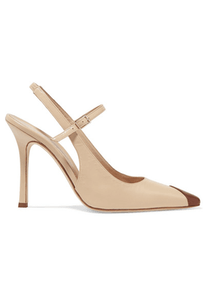 Alessandra Rich - Two-tone Leather Mary Jane Slingback Pumps - Beige