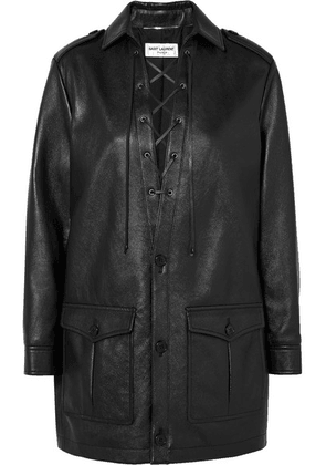 SAINT LAURENT - Lace-up Textured-leather Mini Dress - Black