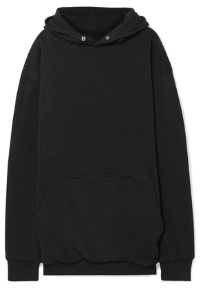 Balenciaga - Oversized Embroidered Cotton-jersey Hoodie - Black