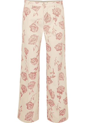 Aries - Floral-print High-rise Straight-leg Jeans - Pink