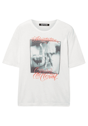 Adaptation - Printed Slub Cotton And Cashmere-blend T-shirt - White